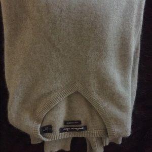 men's light grey green cashmere neck sweater L